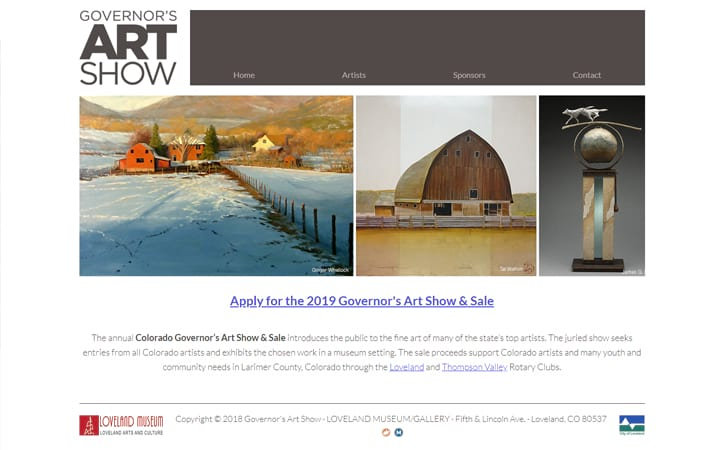 governorsartshow.org website screenshot