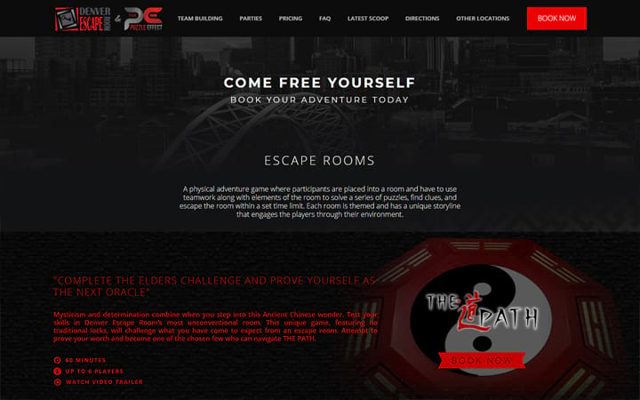 denverescaperoom.com website screenshot