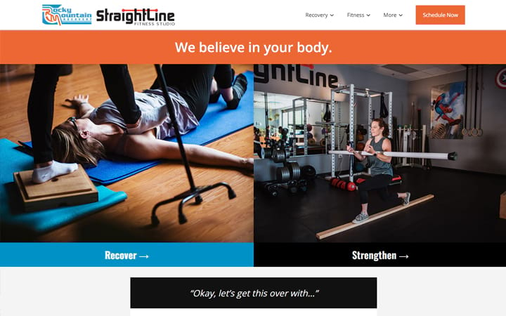 straightlinefitnessstudio.com website screenshot