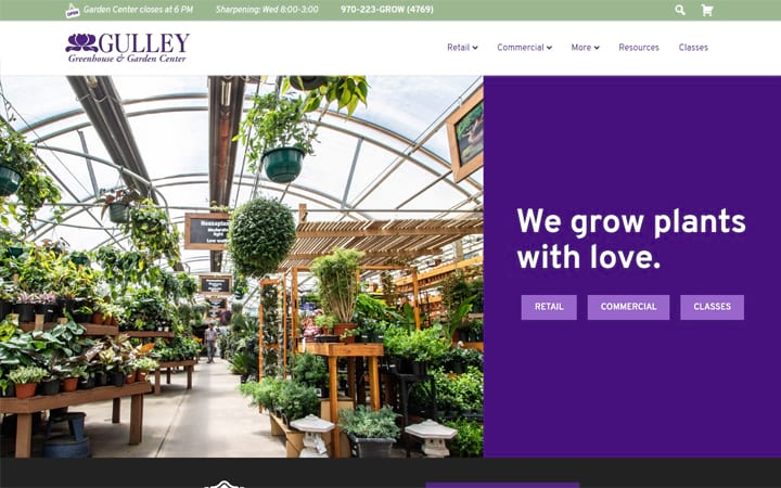 gulleygreenhouse.com website screenshot