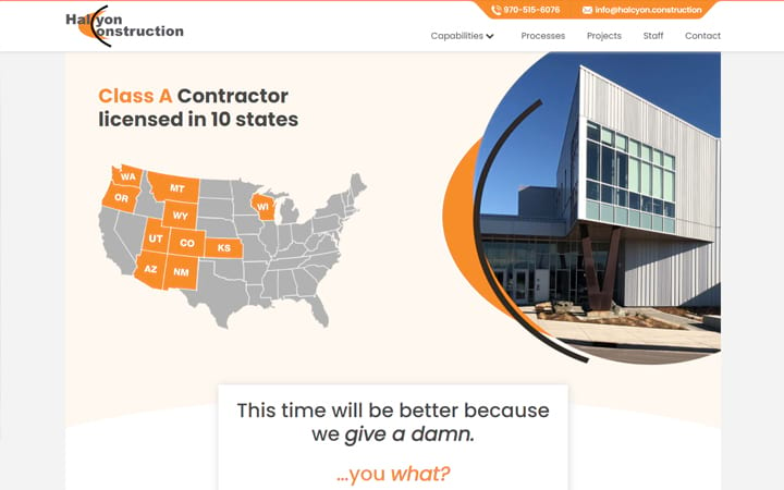halcyon.construction website screenshot